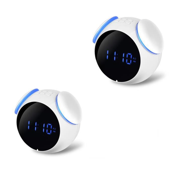 Enceinte Miroir Numérique Réveil Portable Sans Fil Bluetooth Haut-parleurs Mp3 Radio Fm @bat266
