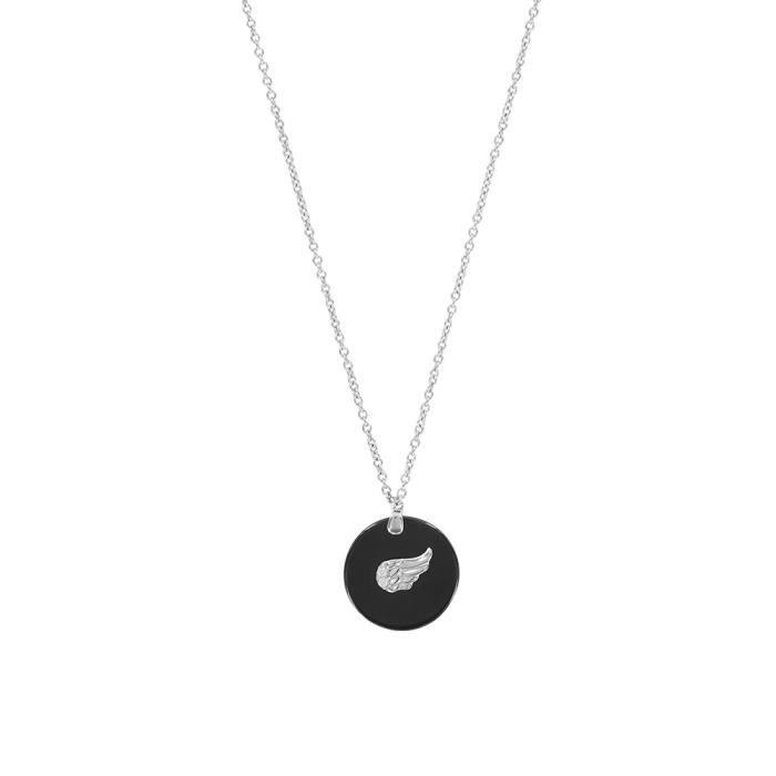 Jouailla - Collier céramique rond noir avec motif aile argent 925-1000e rhodiéet oxydes de zirconium