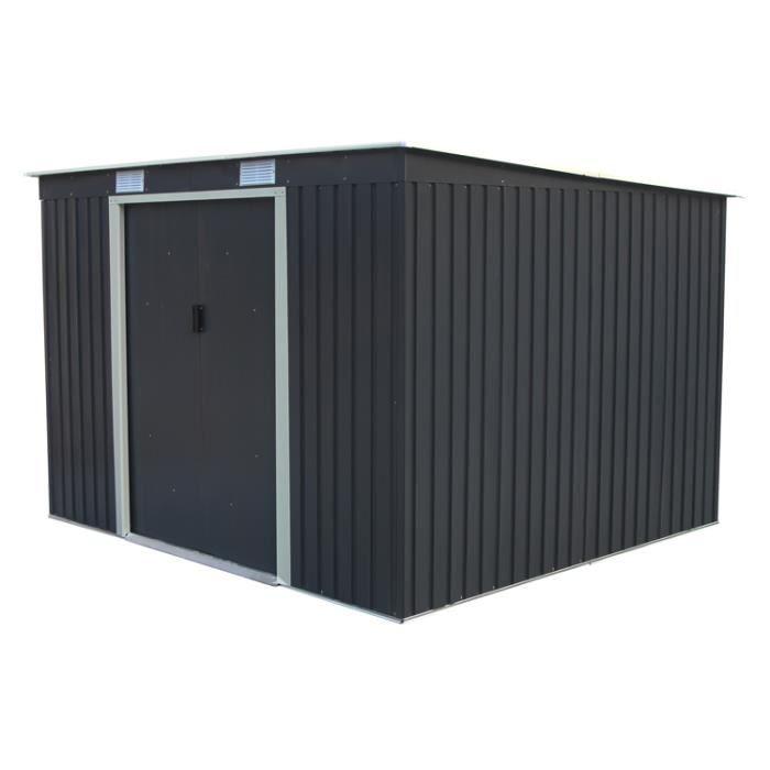 Abri de jardin en métal adossable 3.2 m² gris anthracite + kit d\'ancrage  inclus