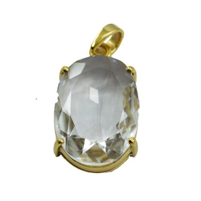 Cristal Quartz Pendentif - Pendentif Plaqué Or - Pendentif Blanc - Blanc Pendentif Plaqué Or