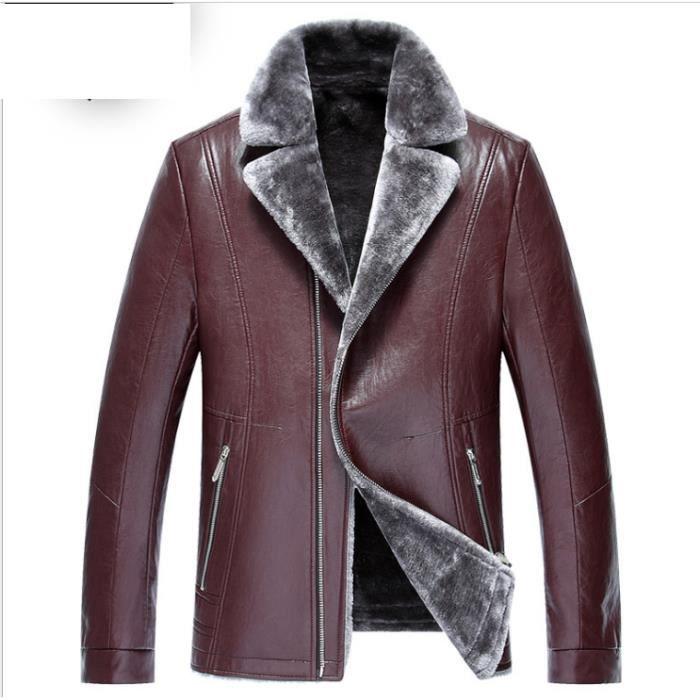 354a930692303 Hommes costumes col pu fourrure manteau d hiver veste en cuir mâle ...