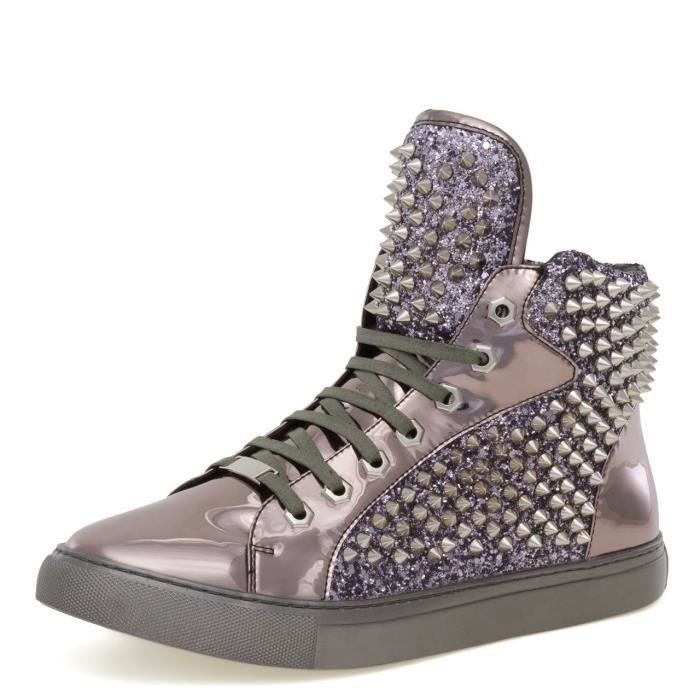 By Jump Men's Zulu Round Toe Glitter Spike Lace-up High-top Sneaker QUES8 40 1-2