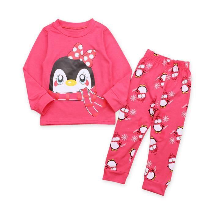 a1015322d3369 2-7 Ans Enfant Fille Rose Ensemble de Vêtement Manche Longue Cartoon  Pingouin Imprimé + Pantalon
