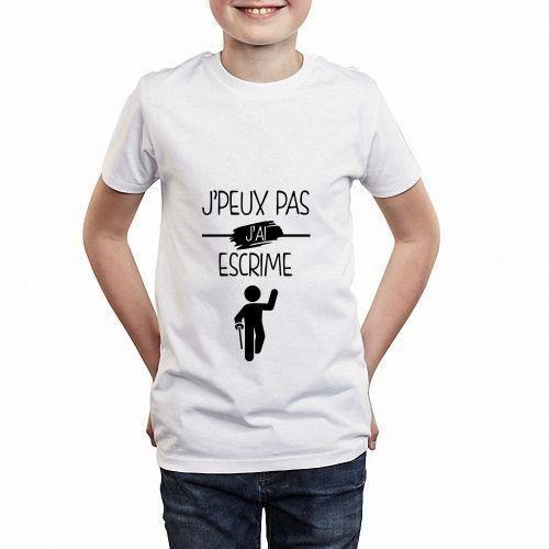 Ai Vente Blanc Pas Peux J Achat Enfant Shirt Escrime T S0qzXO0