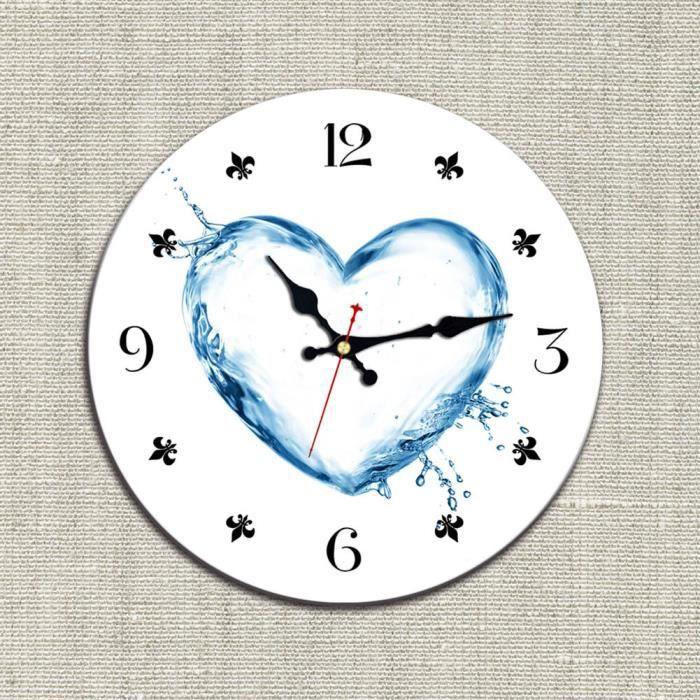 263f364245ab65 Diamètre de 34cm Bleu Amour Les gouttelettes d eau x000D  Horloge  Silencieux Horloge murale Non Piles fournies