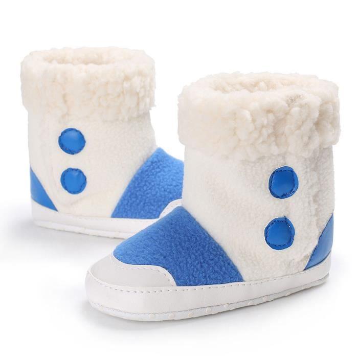 BOTTE Bébé fille garçons doux semelle bottes bottes de neige infantile bambin nouveau-né réchauffement chaussures@Bleu