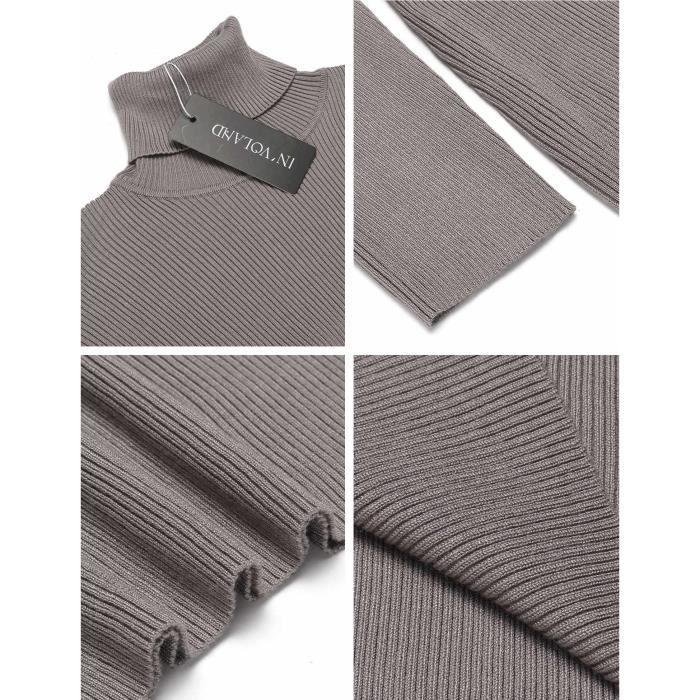 Robe tricotée col roulé longà manches longues