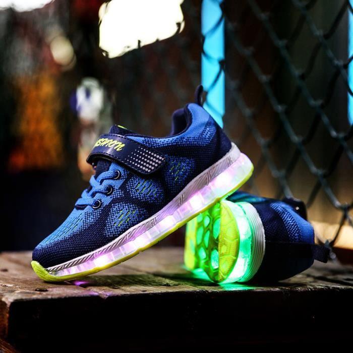 Garçon Fille Chaussures de Lumière Basket Chaussures de Sport