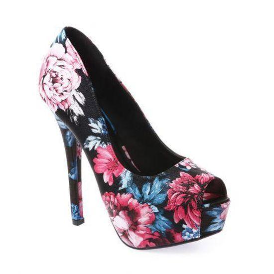 Peep Imprimé Floral Escarpins Toes Fushia Achat Rose Vente 4A35jRL