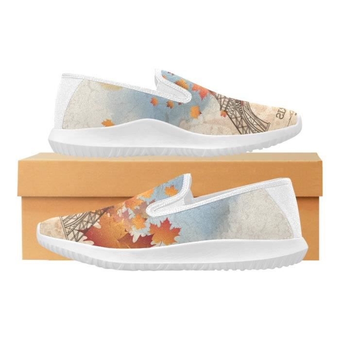 Interestprint Fashion Sneaker Painted Lemon Slice Slip-on Canvas Flat Shoes Z4UIW Taille-37