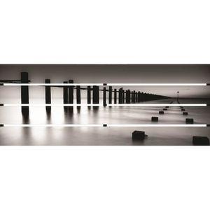 TABLEAU - TOILE Tableau déco ajouré 35x90 - Ponton zen noir et bla