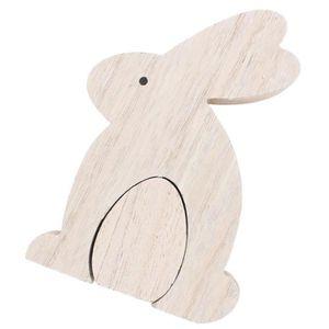 Décoration bois lapin oeuf 10,5x2,5x15cm