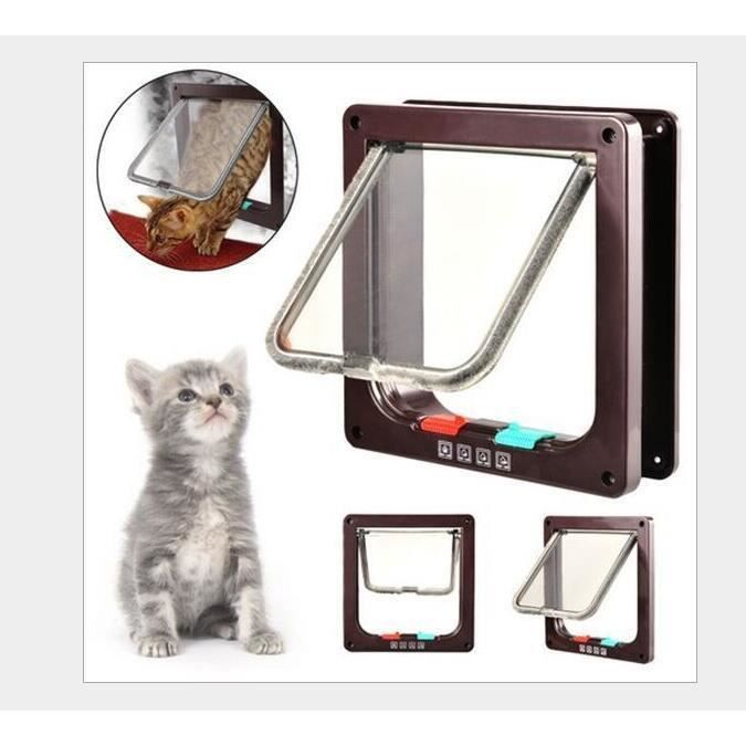Porte pour chat abs 19 7 19 2cm chati re 4 positions - Trappe pour chat ...