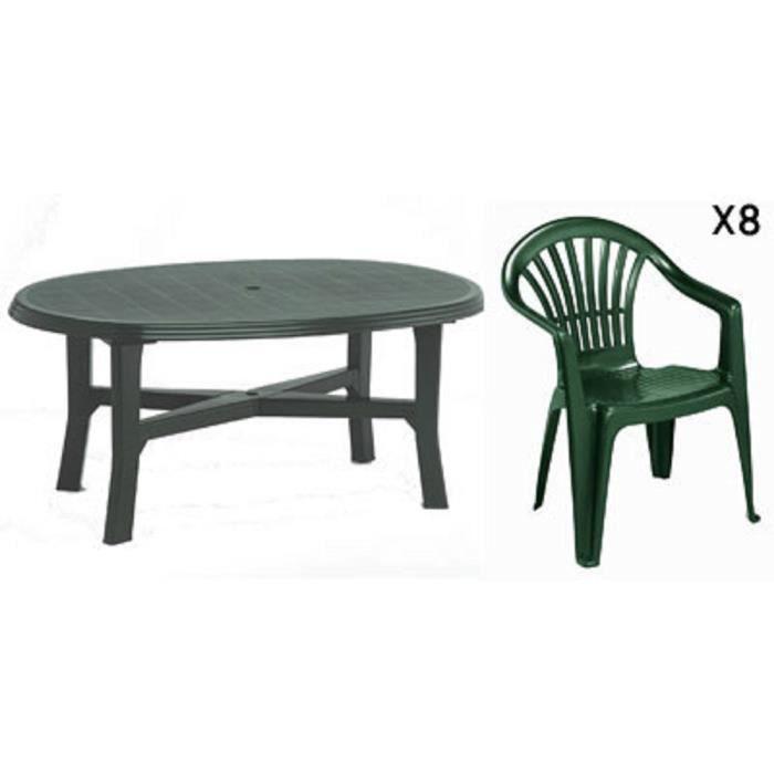 Table ovale verte + 8 fauteuils jardin plastique vert empilables ...