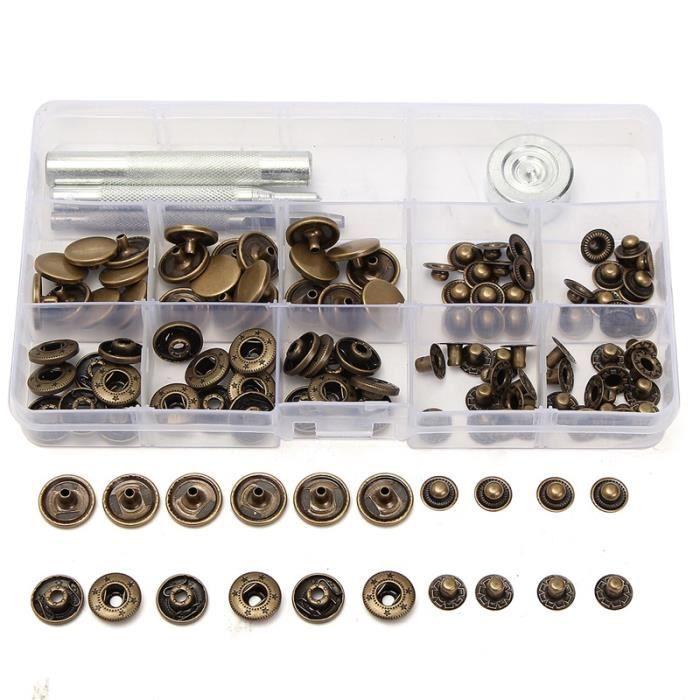 1245fc072985 30 Ensembles 15mm Antique En Laiton Boutons-pression Popper Bouton Pression  bouton En Cuir Kit Matériel + Main Tool Set Pour Sac À
