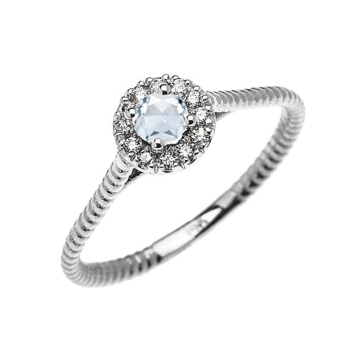 Bague Femme 10 Ct Or Blanc Diamant Et Aquamarine Solitaire Conception De Corde
