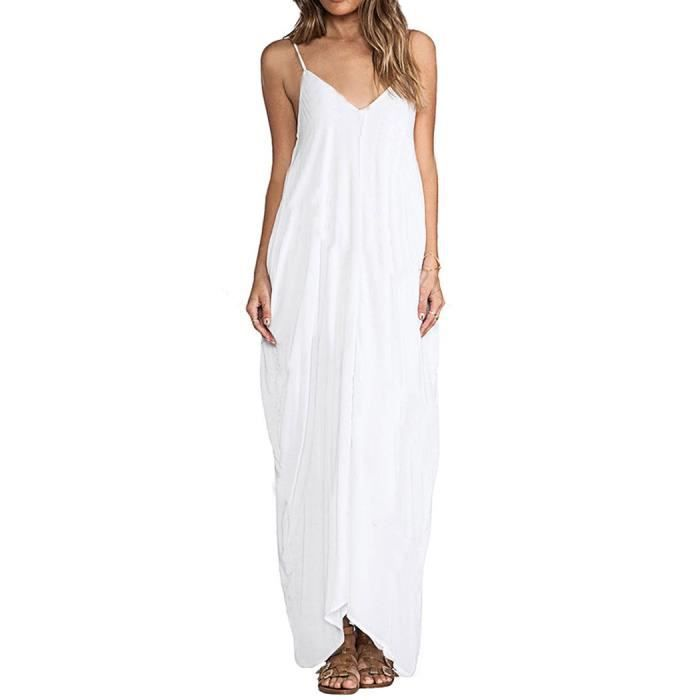 Robe femme longue à bretelles Finejo robe longue col V couleur unie robe longue élégante