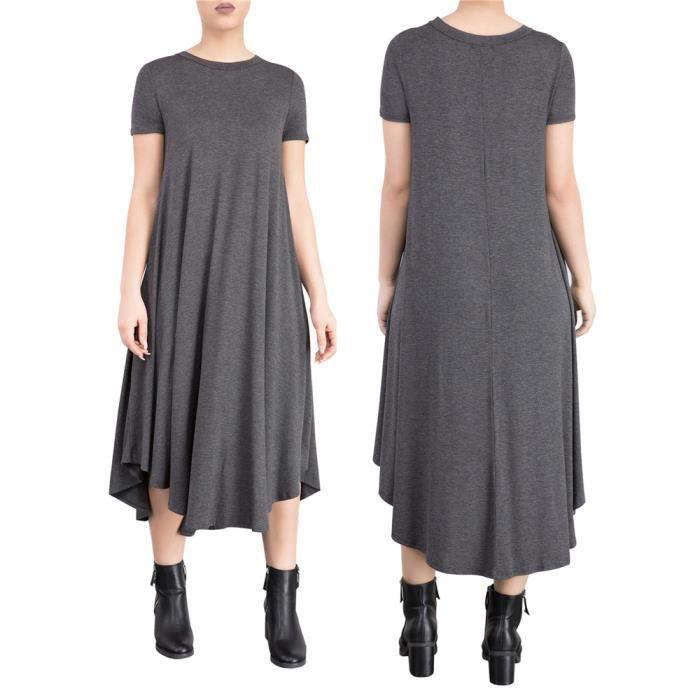Femmes Robes Mode Loisirs En vrac Robe Confortable Respirant Coton vêtement Longue Jumpsuit manteau Nouvelle Mode Grande Taille S-XL
