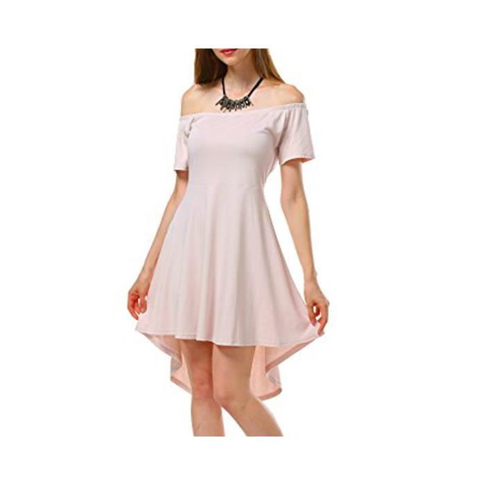 Womens Sexy Off Shoulder Sleeve Flared Swing Party Skater Summer Dress 2GALWK Taille-34