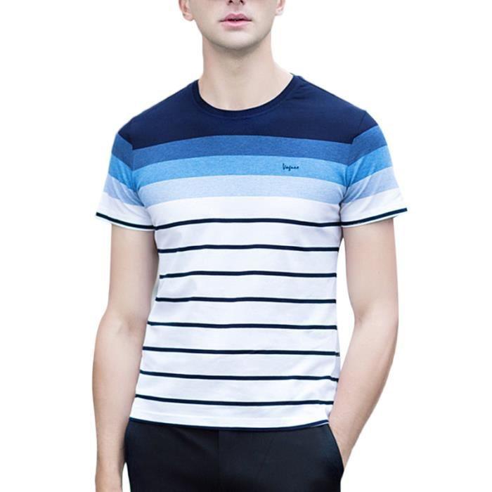 5aad52039d0f0e T shirt à rayure en coton polo pour homme style casual tee shirt pour été à  manches courtes rayé en contraste col rond