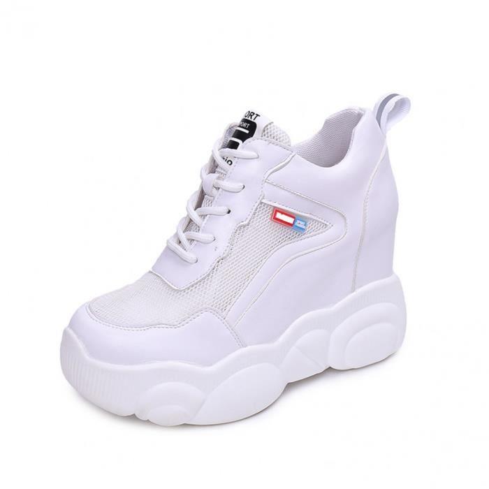 nouveaux styles e3e40 ae851 Baskets Compensées Femmes Talon Compensé Sneakers Courses Basses Athlétique  Marche Fitness Chaussures Sport Run Cuir Lacets Blanc