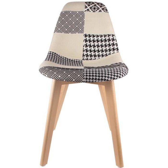 Chaise tissu patchwork achat vente chaise tissu patchwork pas cher cdiscount for Chaise patchwork