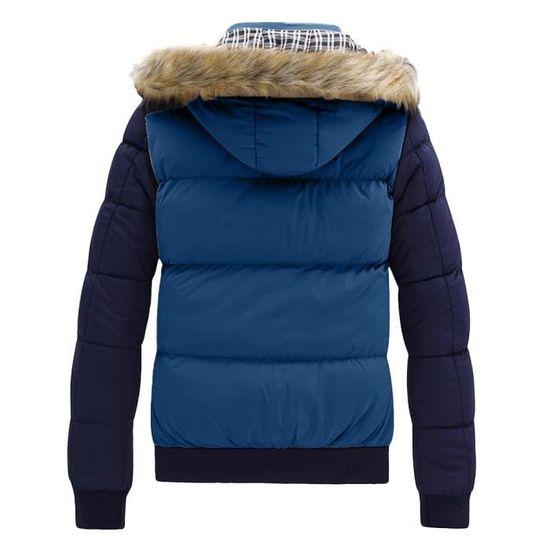 Zipper Outwear Top Garçons Hiver Casual Veste Hommes Bleu