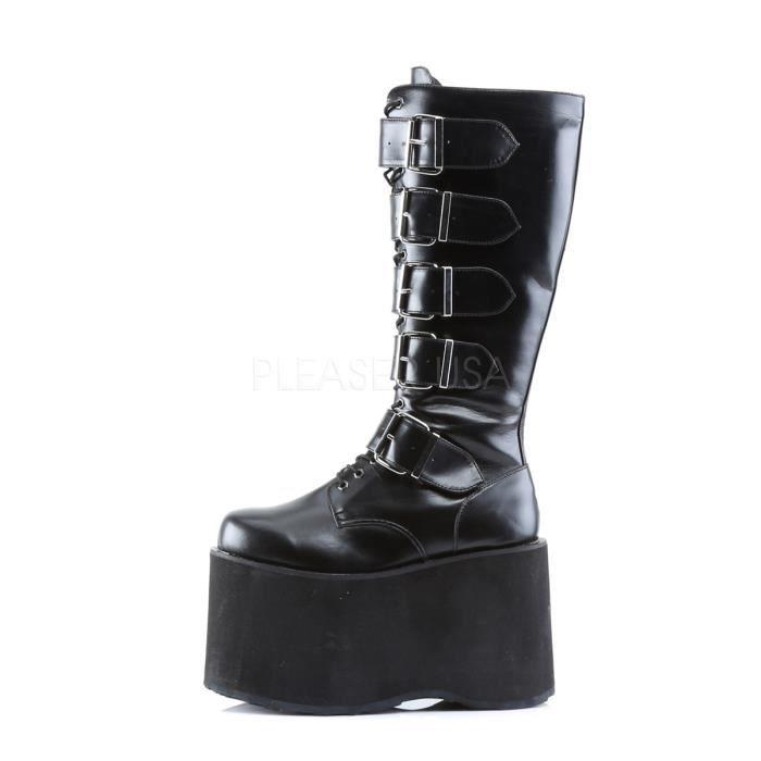 Demonia MEGA-618 5 3/4 Inch Goth Punk Cyber 5 Buckle P/F Knee BT W/ Zipper