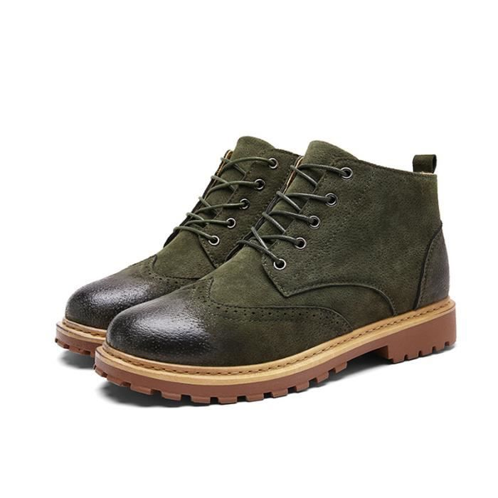 Bottine Homme Comfortable Classique Chaussure Hommes BSMG-XZ218Vert41 6on57SSf