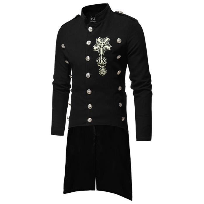 Longs Manteaux Noir Pardessus Automne Chaud Hiver Boutons Casual Hommes Slim Trench Veste wzn8T6