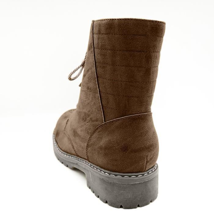 Antidérapantes 3673 Boots Ronde Féminine Rétro Mode Chaussures Desert Veberge Plates Talon À Tête Lacées Faible nHgRTfv