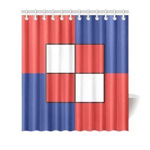 RIDEAU dff097g-1 Rideau de douche bleu blanc rouge motif