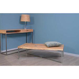 TABLE BASSE Table basse tronc rectangulaire métal et bois 117