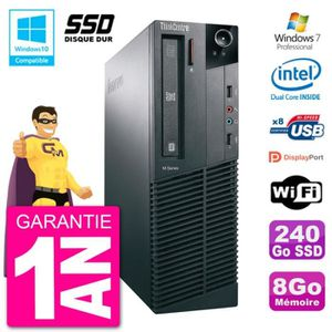 UNITÉ CENTRALE + ÉCRAN PC Lenovo ThinkCentre M82 SFF G2020 RAM 8Go SSD 24