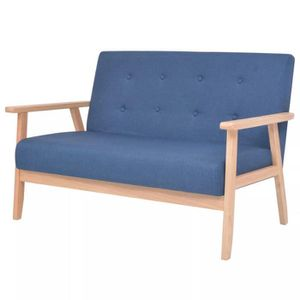 CANAPÉ - SOFA - DIVAN Canapé à 2 places Tissu Bleu Canapé Confortable So