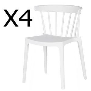 CHAISE Lot de 4 chaises en polypropylène couleur blanche