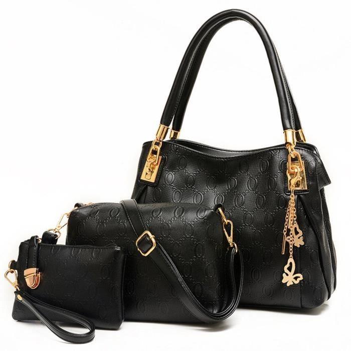 Ensemble sac à main demballage dépaule Messenger Bag Designer en cuir dembrayage Portefeuille 3pcs - set KFYUN