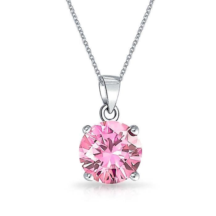 Bling Jewelry Topaze Rose simulées CZ Argent Pendentif