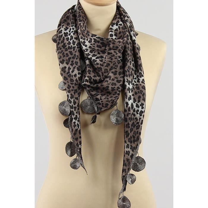 9819cbcf2364 Foulard pointe femme imprimé léopard Marron taupe et noir Polyester ...