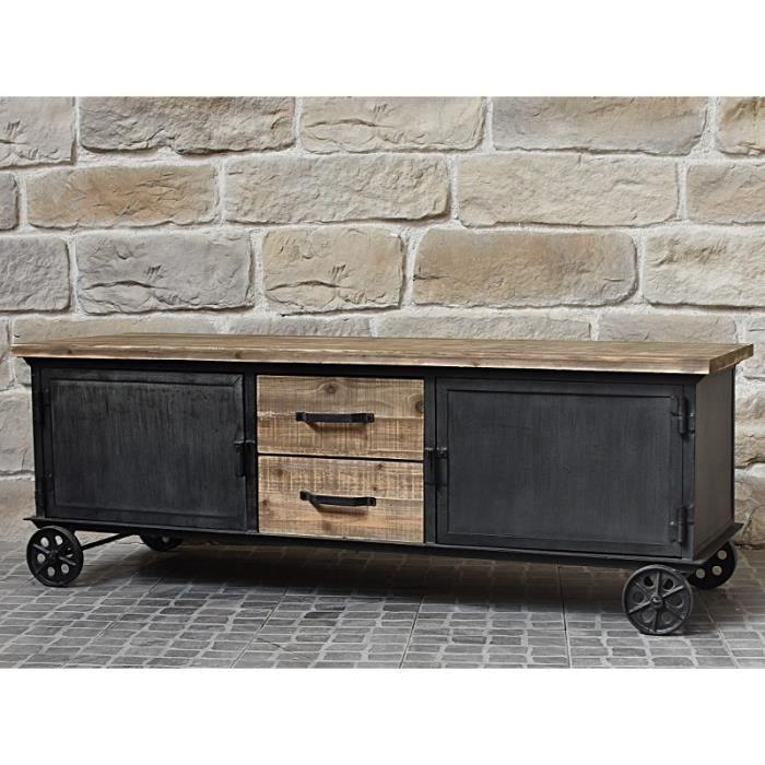 bahut enfilade meuble de t l tv tiroirs placards industriel campagne 155 cm achat vente. Black Bedroom Furniture Sets. Home Design Ideas