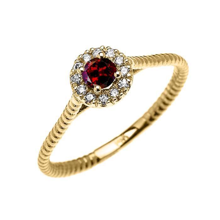 Bague Femme 10 Ct Or Jaune Diamant Et Grenat Solitaire Conception De Corde
