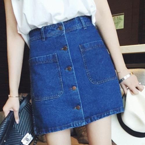 5ffc5b0cd1f Bleu foncé Mini jupe femme courte en denim jeans taille haute A-line crayon  boutons poches amincissant grande taille printemps-été