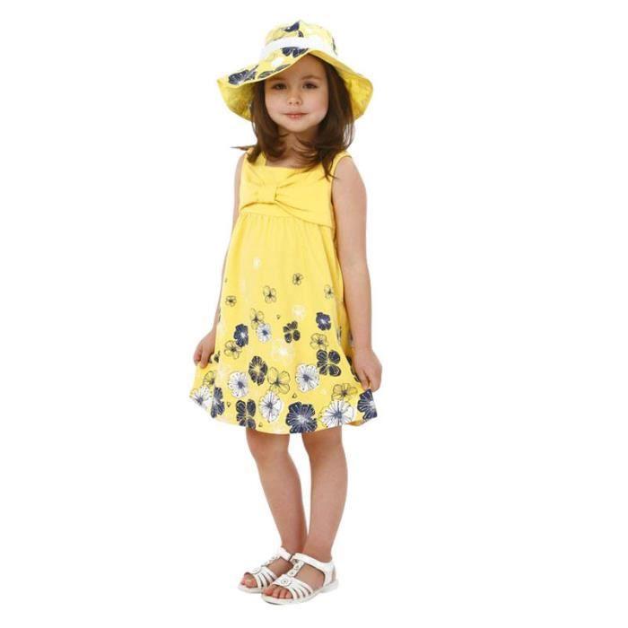 49964315ae1 Enfant Fille Robe Robe à Fleurs Jaune Sans Manches Tenue Été Pour Petite  Fille