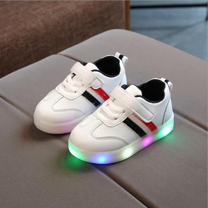 914418177cd50 Toddler Enfants bébé rayé chaussures LED allument des baskets ...
