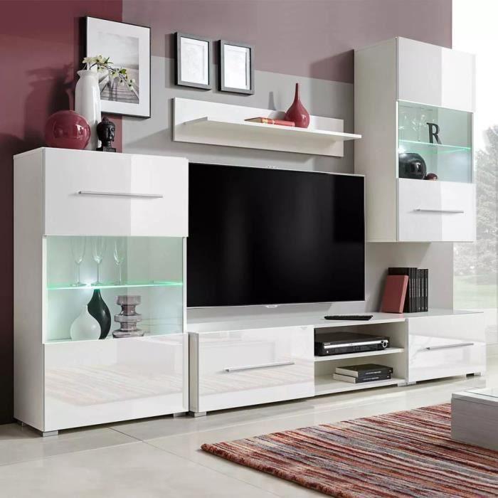 Meuble Tv Mural Avec Eclairage Led 5 Pieces Blanc Audio Video Et Pour Home Cinema
