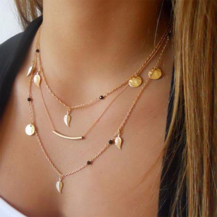 1c8a345d01011 Chaîne de perles feuilles collier pendentif bijoux fantaisie colliers  multi-couches pour femmes Collier femme accessoires
