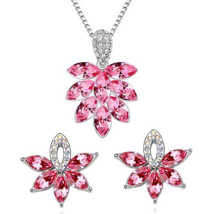 Parure feuille de cristal SWAROVSKI ELEMENTS plaqué or blanc couleur Rose