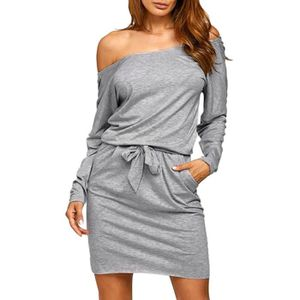f8fd8db3704 ... ROBE SEXY Femmes Sexy solide Encolure manches longues bande ...