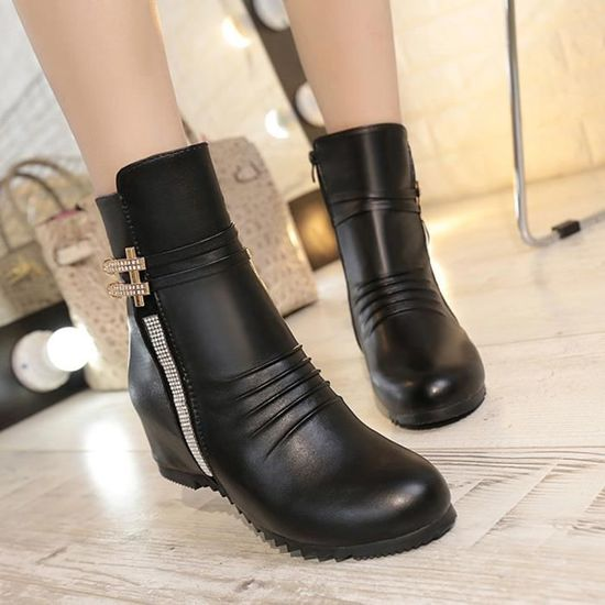 Bottes noir Zareste®femmes Cuir Zippers Sexy Bottines Mode Boot De Lady Confortables En fY7b6gyIv