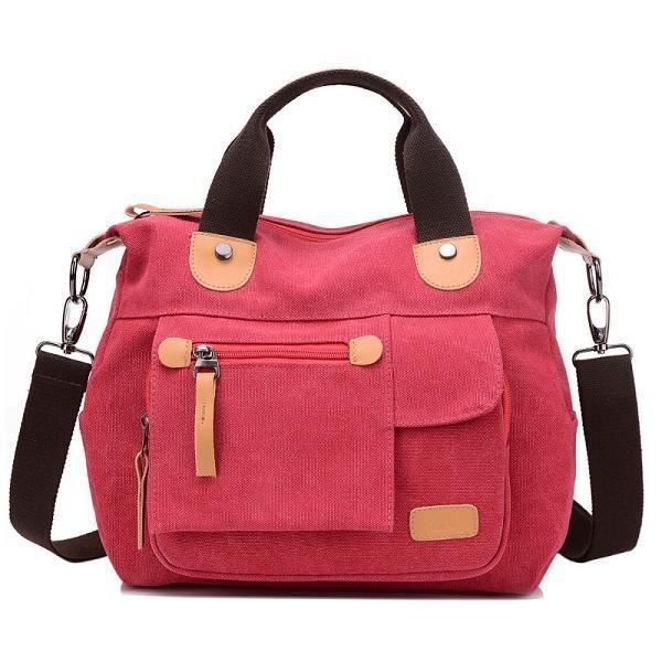 SBBKO3336WomenToileCasualGrandecapacitéfonctionnelle Multi Pocket Handbag Shoulder Bag Crossbody Bag Khaki